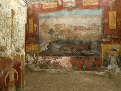 Fresco restored in the city of Pompeii with hunting scenes and Egyptian landscapes. EFE / Archaeological Park of Pompeii