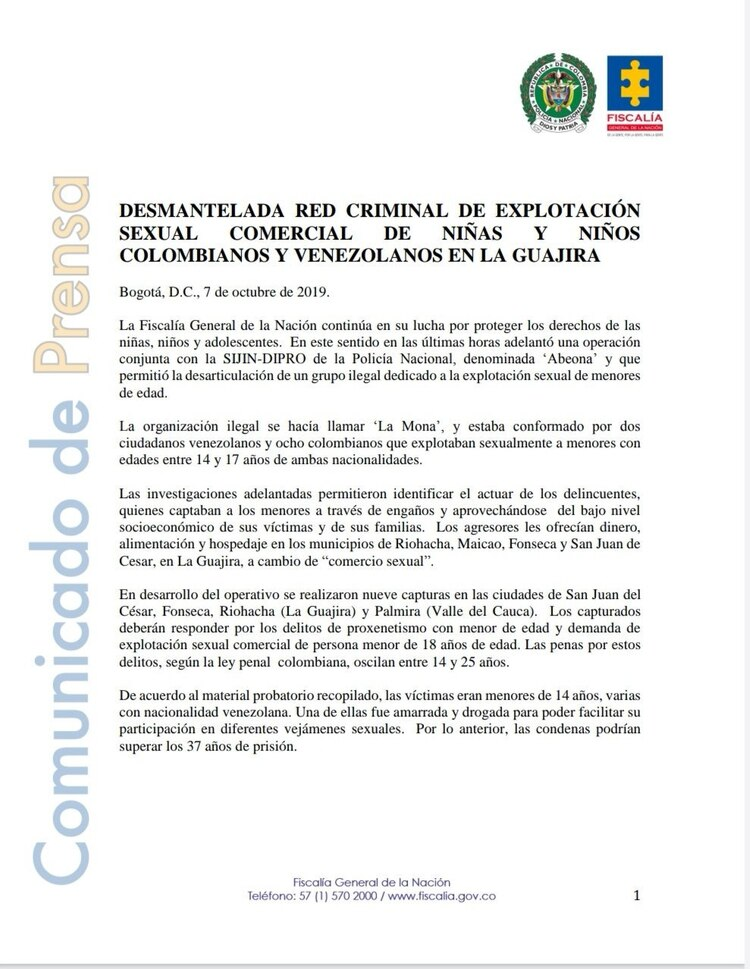 El comunicado de la Fiscalía colombiana