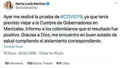 Trino de Marta Lucía Ramírez anunciando su positivo por COVID-19.