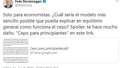 """El ex presidente del Banco Central Federico Sturzenegger publicó el """"paper"""" en su cuenta de Twitter."""
