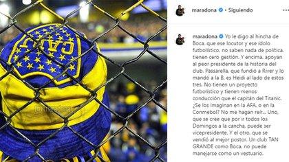 El último posteo de Diego Maradona en su cuenta oficial de Instagram (@maradona)
