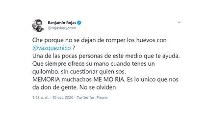 El mensaje de Benjamín Rojas por el escándalo de Casi Ángeles