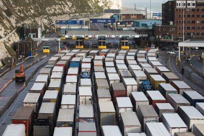 Haulage trucks at the check in at the Port of Dover Ltd. in Dover, in December.