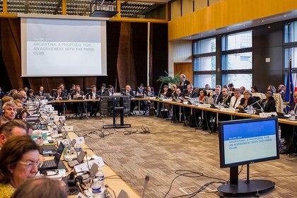 Imagen de la presentación del entonces ministro Axel Kicillof ante el Club de París, en 2014. Una cuota de USD 2.400 millones de ese acuerdo vence en abril y se puede prorrogar hasta mayo