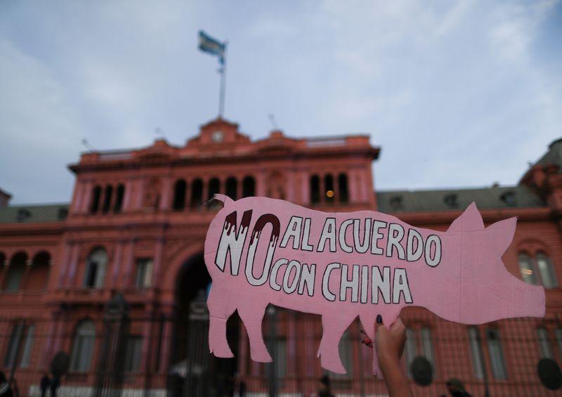 Una protesta ambientalista frente a la Casa Rosada le reclama al Gobierno que cancele el acuerdo con China para promover la la producción de carne de cerdo sobre el suelo argentino. (REUTERS/Agustin Marcarian).