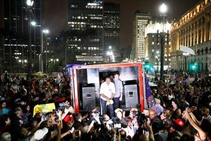 El candidato del Partido de los Trabajadores Fernando Haddad durante un acto en San Pablo (REUTERS/Nacho Doce)