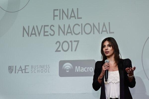 Milagro Medrano, Gerente de Relaciones Institucionales de Banco Macro en su discurso para la final.