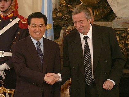 Néstor Kirchner y Hu Jintao en Buenos Aires