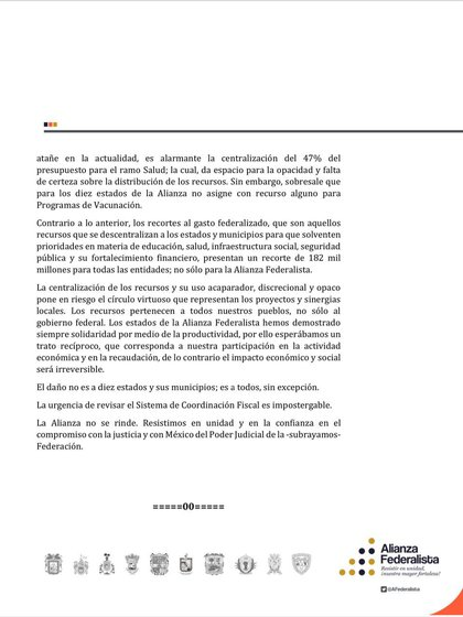 Second part of the text of the Federalist Alliance against PEF 2021 (Photo: Twitter / @AFederalista)