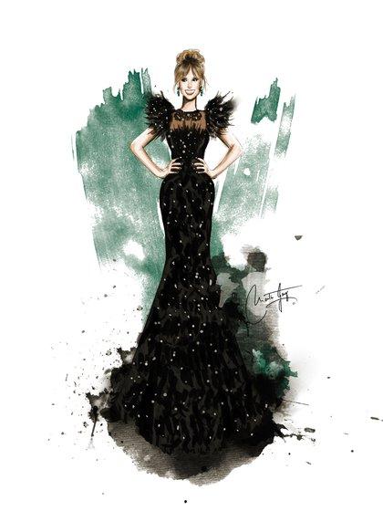 Mariana Fabbiani también tuvo la ilustración del creativo sobre su vestido de los Martín Fierro de Gabriel Lage