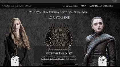 """En la página se puede ver las chances que tienen de morir cada uno de los personajes de """"Game of Thrones"""", según un sistema basado en inteligencia artificial"""