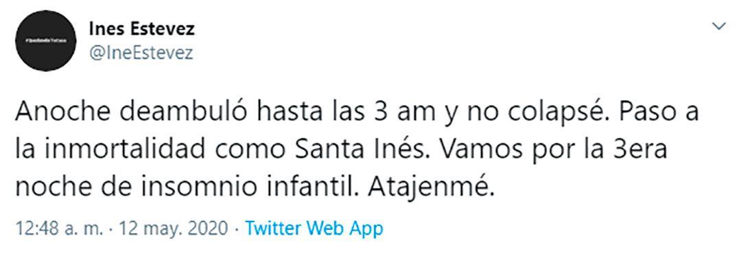 El tuit de Inés luego de tres noches sin dormir
