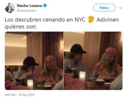 Peña Nieto y Tania Ruiz fueron captados en un resturante de NY usando pelucas para no ser reconocidos (Foto: Twitter @nacholozano)