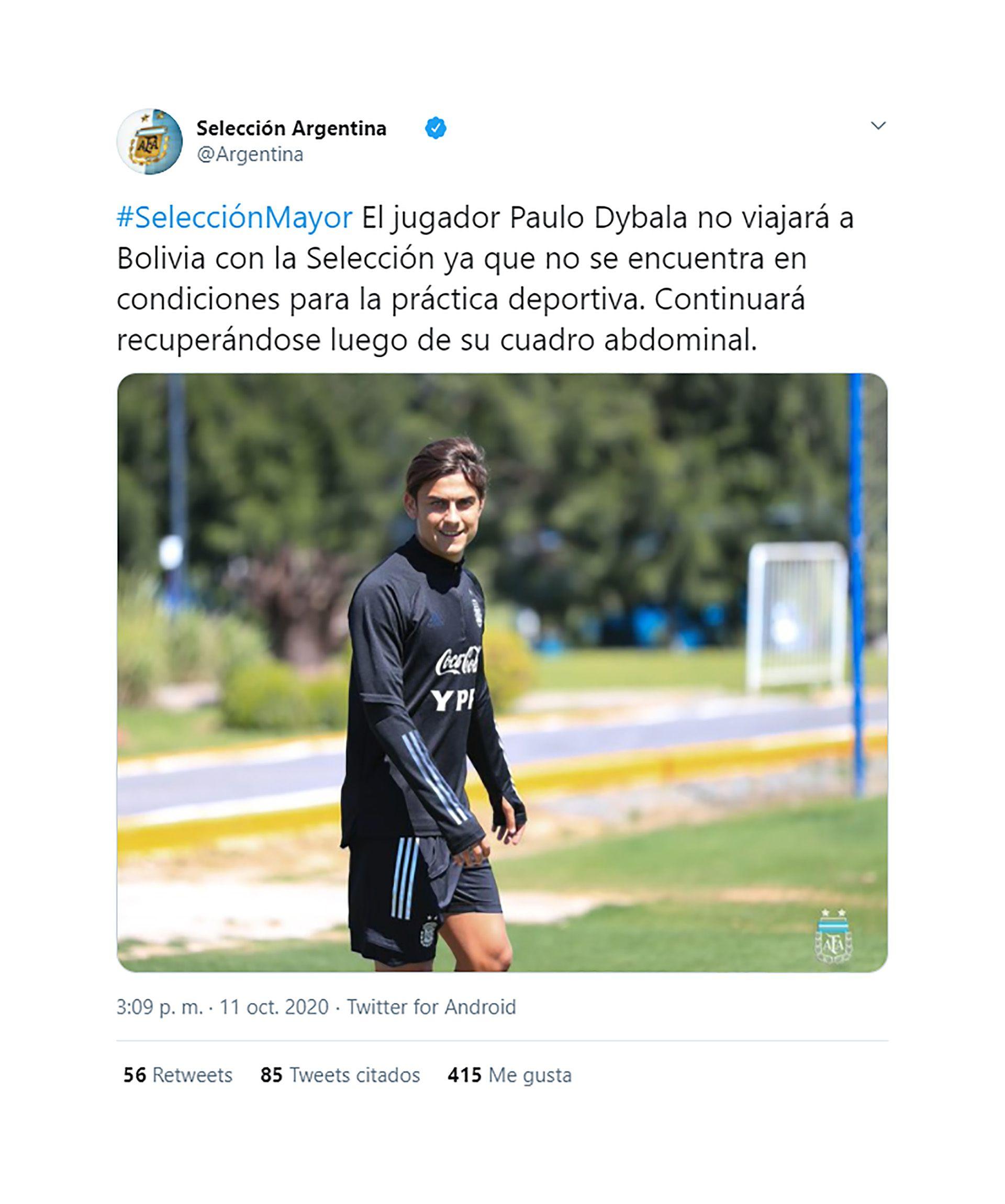 Selección argentina baja Dybala