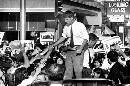 Durante su campaña presidencial, en Sacramento (Walter J. Zeboski/AP)