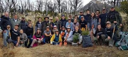Un grupo de voluntarios que se encuentra plantando árboles en el Parque Los Alerces