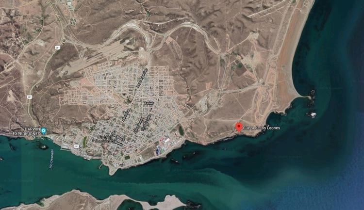 La ciudad de Puerto Deseado y la zona de Cueva de los Leones, donde ocurrieron los hechos