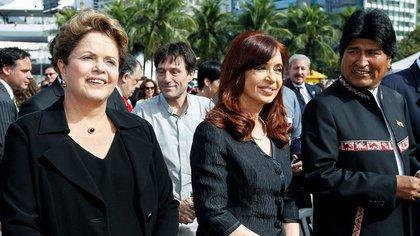 Dilma Rousseff, Cristina Kirchner y Evo Morales