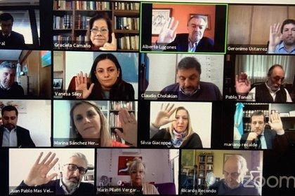 El Consejo de la Magistratura en su versión virtual por la pandemia. El organismo tiene el concurso para cubrir las vacantes en la Cámara Federal
