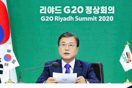 El presidente de Corea del Sur, Moon Jae-in, durante su intervenci�n en la cumbre del G20 celebrada este fin de semana. EFE/EPA/YONHAP SOUTH KOREA OUT