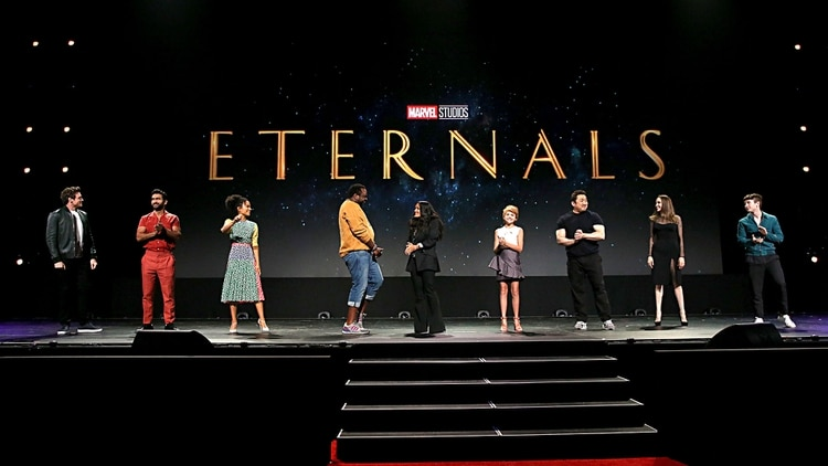 ANAHEIM, CALIFORNIA - AUGUST 24: (L-R) Richard Madden, Kumail Nanjiani, Lauren Ridloff, Salma Hayek, Lia McHugh, Don Lee, Angelina Jolie, and Barry Keoghan of 'The Eternals' took part today in the Walt Disney Studios presentation at Disneys D23 EXPO 2019 in Anaheim, Calif. 'The Eternals' will be released in U.S. theaters on November 6, 2020. Jesse Grant/Getty Images for Disney/AFP Jesse Grant / GETTY IMAGES NORTH AMERICA / AFP