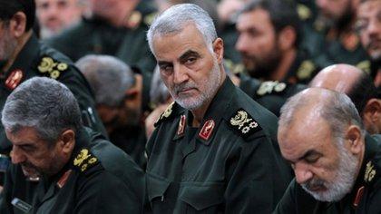 El general Qassem Soleimani, en na reunión de comandantes de la Guardia Revolucionaria en Teherán en 2016 (FOTO AFP / KHAMENEI.IR / HO)