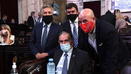 Los diputados de Juntos por el Cambio Alfredo Cornejo, Omar De Marchi y Waldo Wolf -con barbijo rojo con la leyenda Clorinda libre-, detrás de Humberto Schiavoni, en el recinto. (Comunicación Senado)