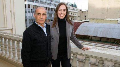 María Eugenia Vidal y Daniel Salvador. Ambos respaldan la candidatura de Maximiliano Abad