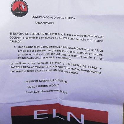 El panfleto del ELN (Twitter: @dianamolinap)
