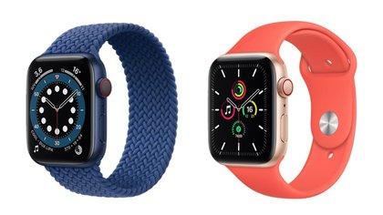 Apple Watch 6 junto a Apple Watch SE