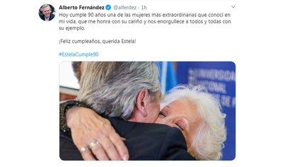 El tuit de Alberto Fernández hacia la titular de Abuelas de Plaza de Mayo, Estela de Carlotto.