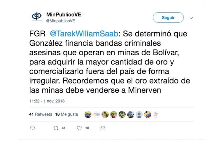 Declaraciones de Tarek Wiliam Saab sobre bandas criminales que operan en minas de Bolívar