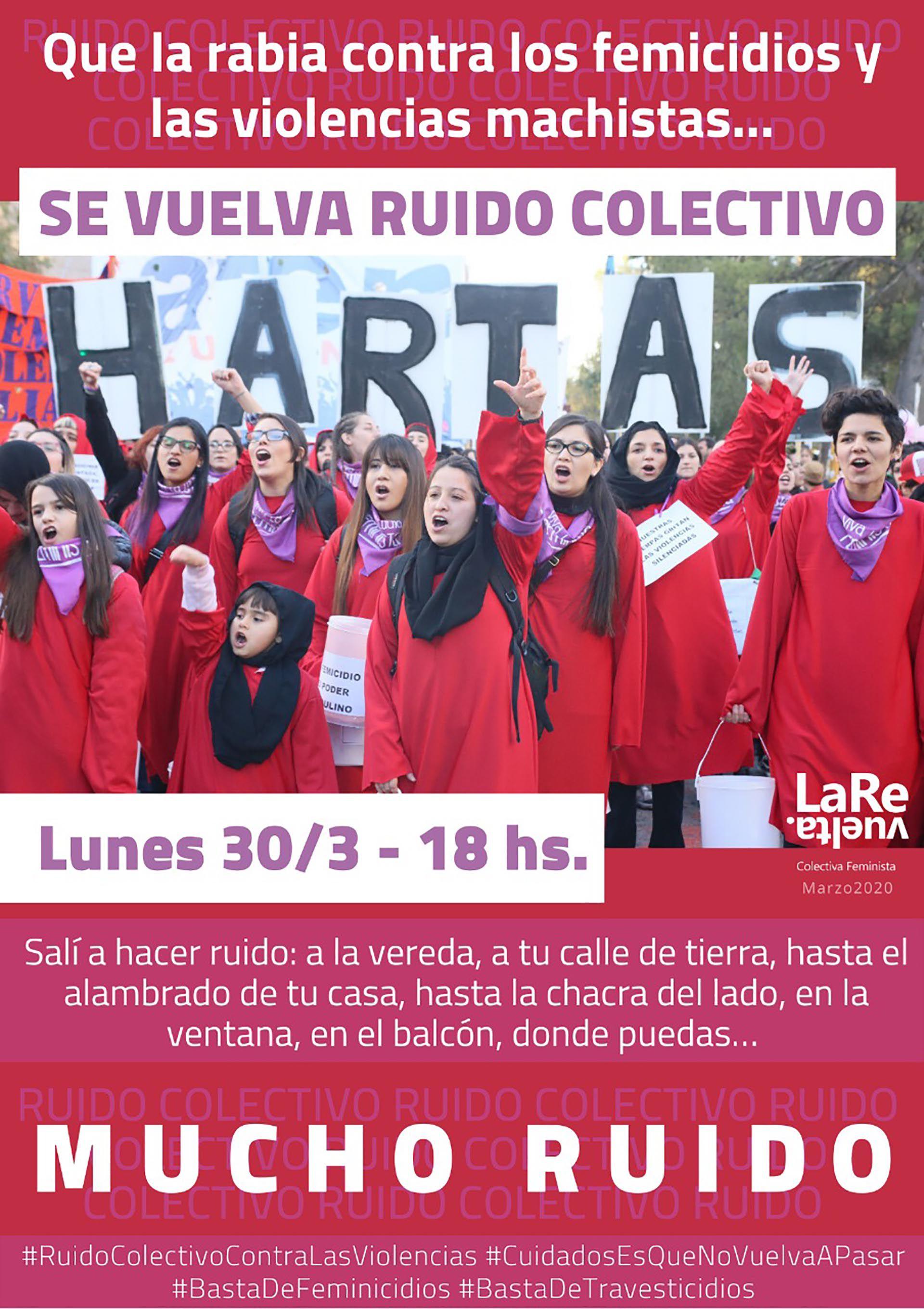 La revuelta, Ni una Menos y otros colectivos feministas convocan a un ruidazo el lunes a las 18 horas contra la violencia de género y los femicidios.