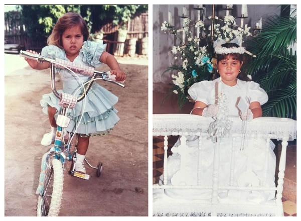 La modelo durante su residencia en Plato, Magdalena cuando tenía 6 (izquierda) y 11 años (derecha).