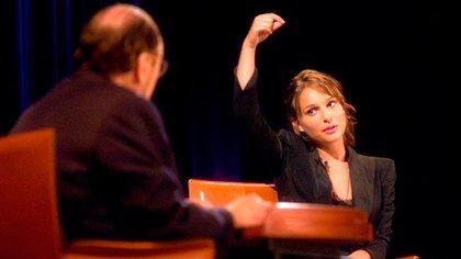 James Lipton con la ganadora del Oscar, Natalie Portman