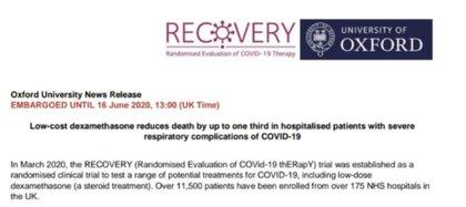 El encabezado del ensayo clínico Recovery de la Universidad de Oxford