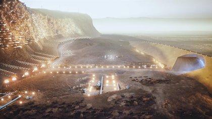 Habitáculos excavados en un acantilado y enormes cúpulas de cristal que protejan a los habitantes del hostil clima marciano, serían los elementos que, al menos desde fuera, diferenciarían una ciudad marciana de una terrestre