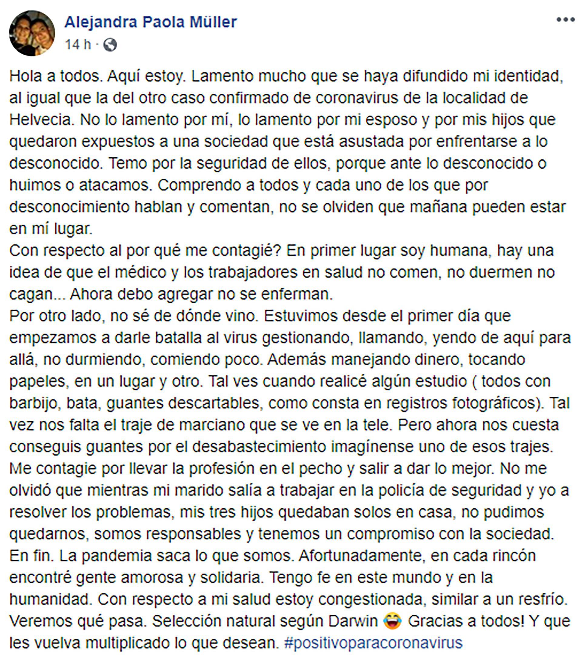 La carta de Alejandra Paola Müller que publicó el martes en su cuenta de Facebook