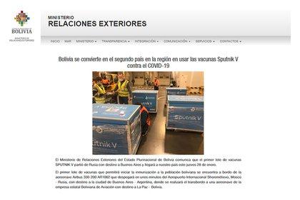 El comunicado oficial del ministerio de Relaciones Exteriores de Bolivia