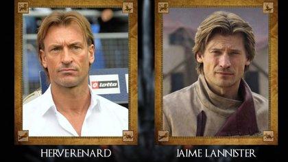 Hervé Renard (DT Marruecos) con Jaime Lannister