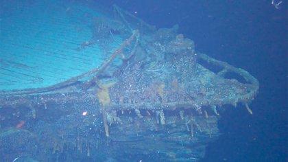 La proa del SMS Scharnhorst, en imágenes tomadas por los vehículos autónomos submarinos (Cortesía del Falklands Maritime Heritage Trust)