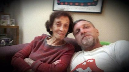 A selfie of a grandmother and grandson: Hilda with Emiliano Parada, who is a television producer