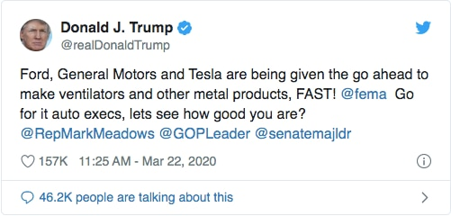 La autorización de Donald Trump para que Ford, General Motors y Tesla fabriquen respiradores.