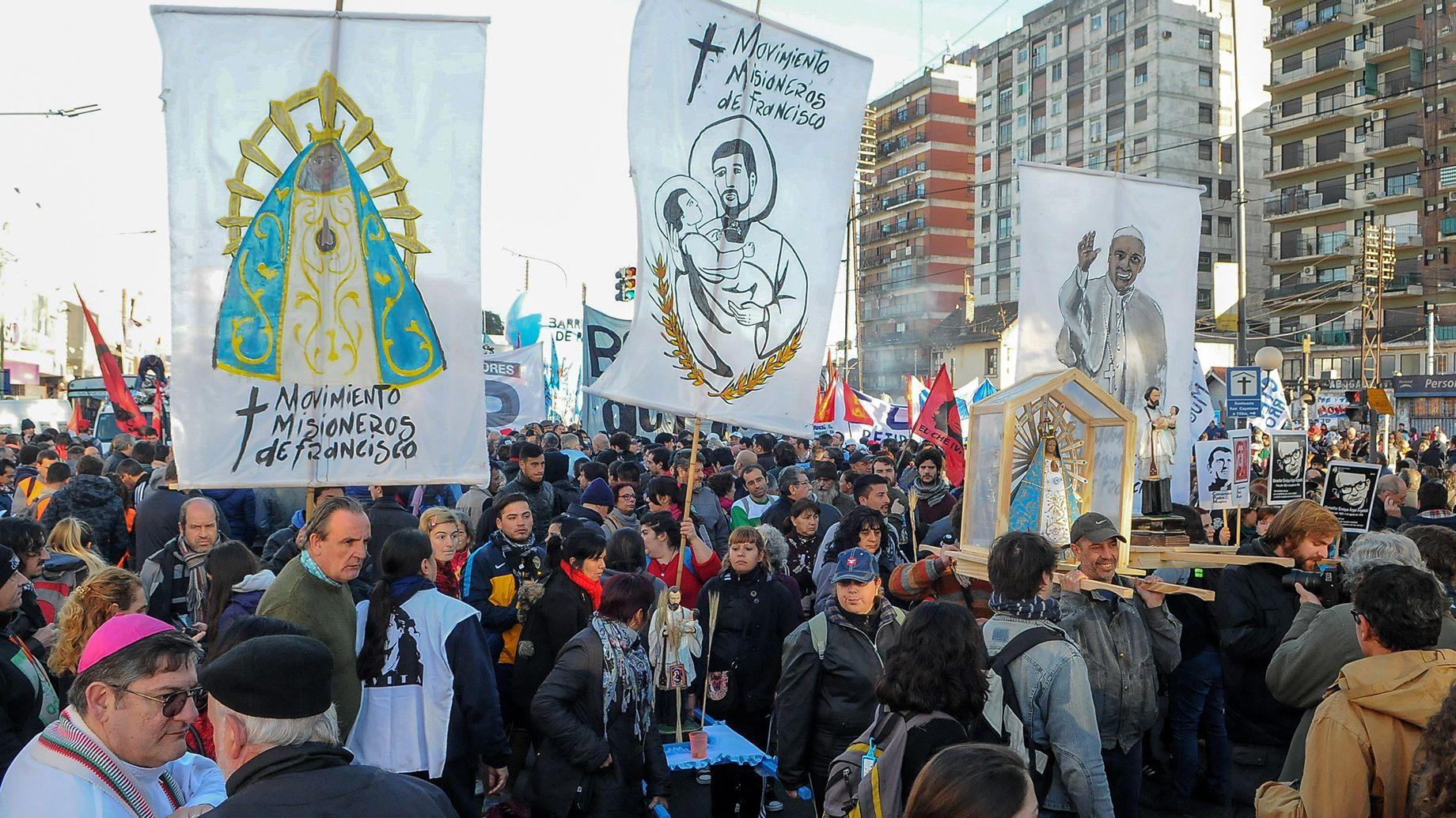 Movilización por San Cayetano (Télam)