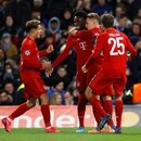Soccer Football - Champions League - Round of 16 First Leg - Chelsea v Bayern Munich - Stamford Bridge, London, Britain - February 25, 2020 Bayern Munich's Philippe Coutinho, Alphonso Davies, Joshua Kimmich and Thomas Muller celebrate their third goal REUTERS/Eddie Keogh