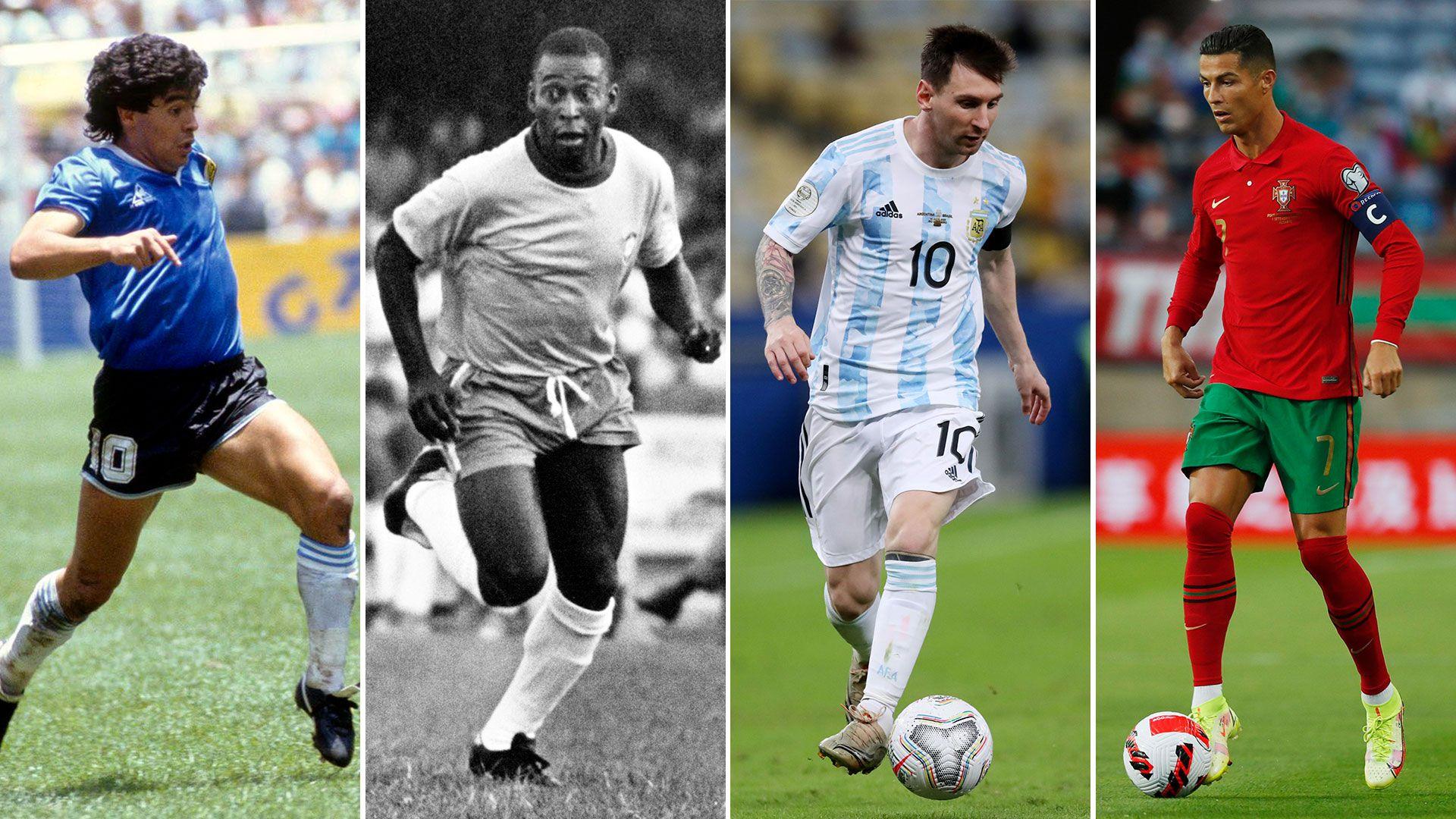 Maradona, Pelé, Messi y Cristiano Ronaldo