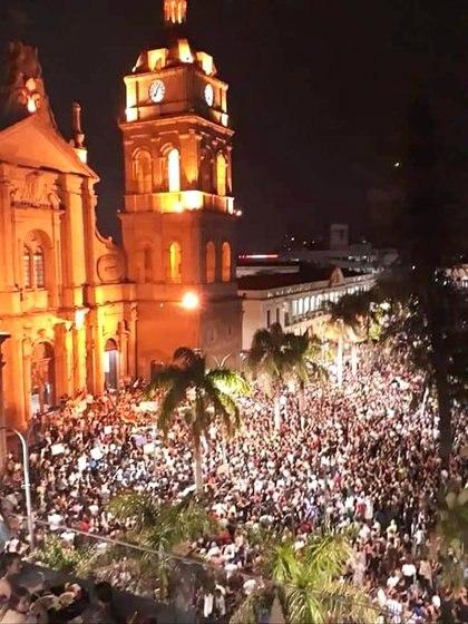 La masiva movilización ciudadana de protesta por los incendios, el domingo último en Santa Cruz de la Sierra