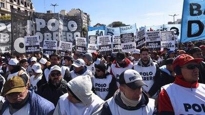 La columna del Polo Obrero en una de las manifestaciones