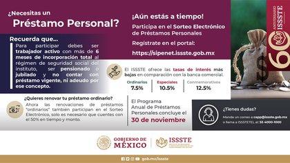 Información sobre el último sorteo electrónico de préstamos personales del año (Foto: Twitter@ISSSTE_mx)