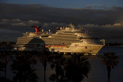 The Carnival Corp. Panorama cruise ship sits docked in Long Beach, California on March 7, 2020.